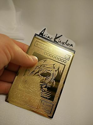 USA Seller Cosplay Anime BLUE-EYES WHITE DRAGON Golden Metal Card Custom made