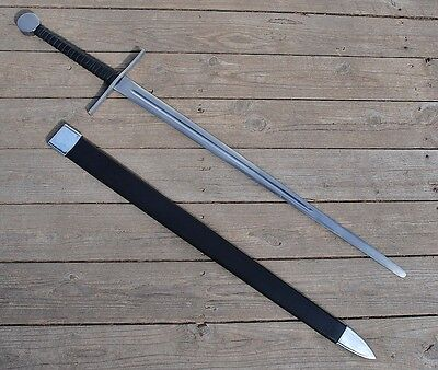 Medieval Two Handed Excalibur Claymore Broadsword Sword with Black Scabbard