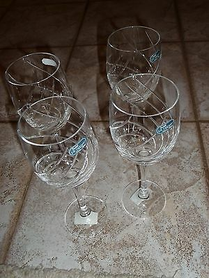 """Junon"" Crystal Water Goblets J.G. Durand France by Cristal D'Arques Set of 4"