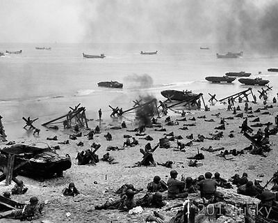 WWII 1944 Normandy Beach Landing D-Day 8x10 Lab B&W Photo Picture #61