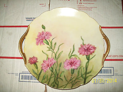 """Limoges  Stamped T&V France Hand Painted  10"""" Dia Plate"""
