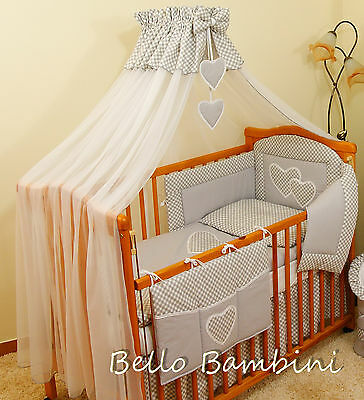 10p BABY BEDDING SET /BUMPER/CANOPY /HOLDER/DUVET/CANOPY for Cot/Cot Bed GREY