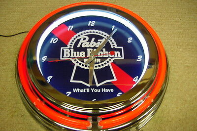 "Pabst Blue Ribbon Beer 14"" Double Neon Wall Clock -"