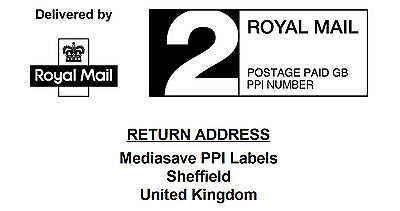 Royal Mail Pre-Printed PPI Labels in 1st & 2nd Class with Return Address 24UP