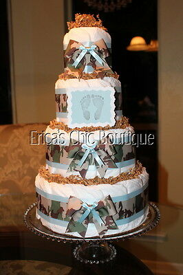 Four Tier 80+ Diapers Camo Baby Boy Diaper Cake Shower Or Hospital Gift
