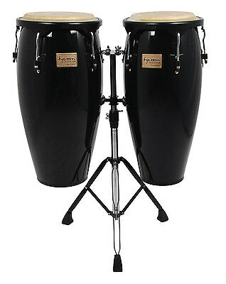 Tycoon Percussion Conga Supremo 10 & 11 Black Hardware Black Finish  Double Stan