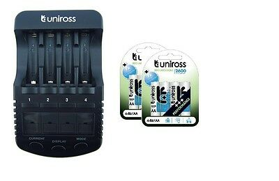UNiROSS ULTIMATE INTELLIGENT SMART Charger AA AAA+ 8 x AA 2600 Batteries