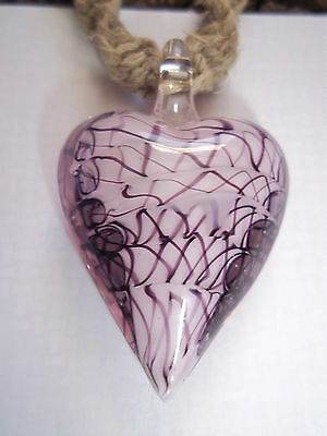 "HAND CRAFTED Natural HEMP Necklace with ""Hand Made""  PINK Glass HEART Pendant"