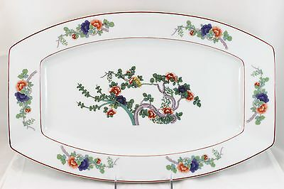X LARGE ROSENTHAL SELB BAVARIA CHINA INDIAN TREE OBLONG PLATTER FLORAL WHITE RED