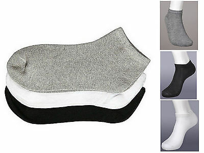 12 Pairs Kids Ankle Socks Size 6-8 Mixture of Solid White Black Gray