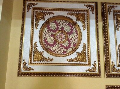 "Red with Gold Floral Ceiling Medallion Square 39""x39"" New Home Decor"