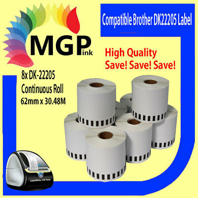 8x Rolls Compatible DK-22205 BROTHER Continuous Refill Labels – 62mm X 30.48m