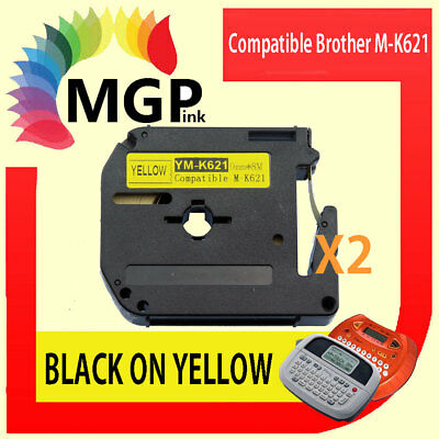 2x Compatible P-Touch Thermal Tape for Brother M-K621 Black on Yellow 9mm x 8m