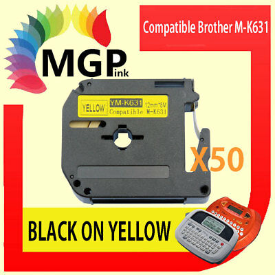 50x Compatible P-Touch Thermal Tape for Brother M-K631 Black on Yellow 12mm x 8m