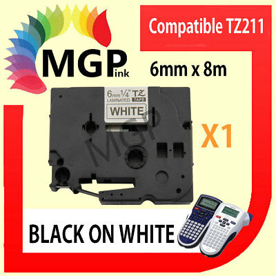 1x Laminated Label Tape for Brother TZ-211 TZe-211 Black on White 6mm x 8m