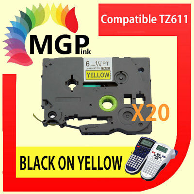 20x Laminated Label Tape for Brother TZ-611 TZe-611 Black on Yellow 6mm x 8m