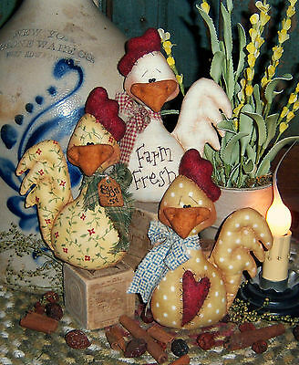 Patti's Ratties Primitive Country Chicken Ornies Bowl Fillers Paper Pattern #331