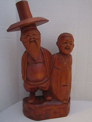 "VINTAGE WOOD CARVED SMILING CHINESE OLD COUPLE 14"" TALL FOLK ART"