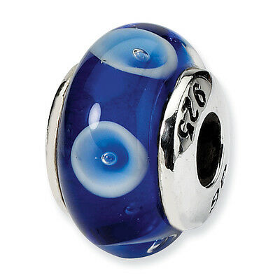 Blue w/ White Design Hand Blown Glass Kids Bead Sterling Silver Reflection Beads