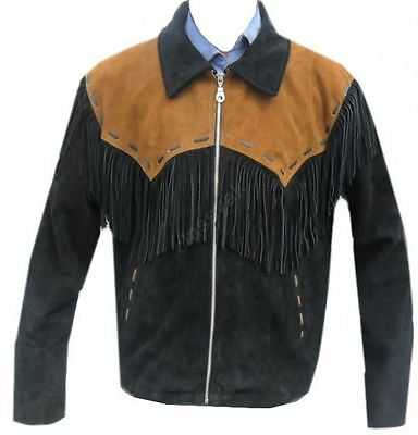 Celebrita X Cowboy Western Leather Jacket fringed Black with Brown Patch - Sizes