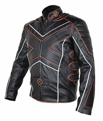 Celebrita X Biker Style Men's Piping Leather Jacket  with CE Armor Protection