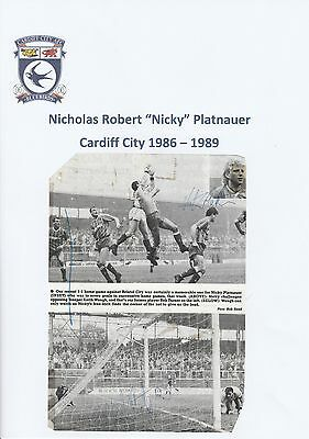 NICKY PLATNAUER CARDIFF CITY 1986-1989 ORIGINAL HAND SIGNED (x2) PICTURE CUTTING