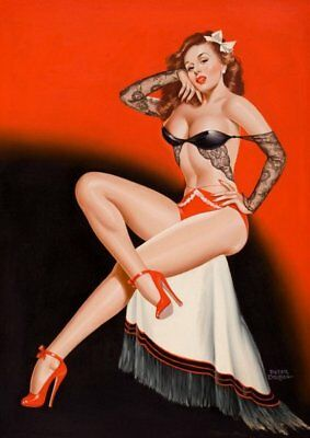 Peter Driben Red Haired Pinup in Lingerie Vintage Art Print - A4 A3 A2 A1