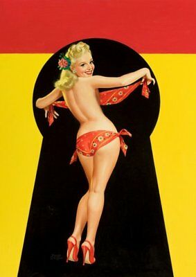 Peter Driben Blonde Pinup in Red Bikini Vintage Art Print - A4 A3 A2 A1