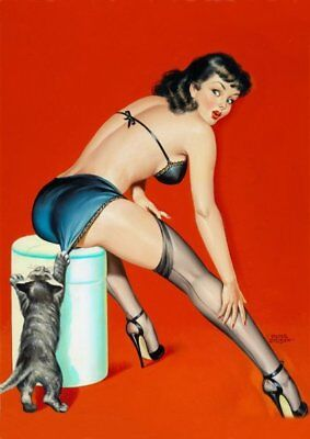 Peter Driben Black Haired Pinup with Cat Vintage Art Print - A4 A3 A2 A1