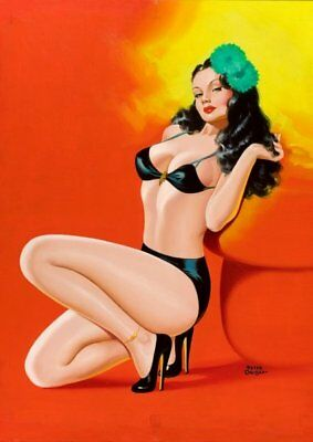 Peter Driben Black Haired Pinup in Black Vintage Art Print - A4 A3 A2 A1
