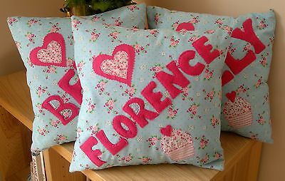 GIRLS Cushion Kids PERSONALISED Handmade Christening Present Birthday baby Gift