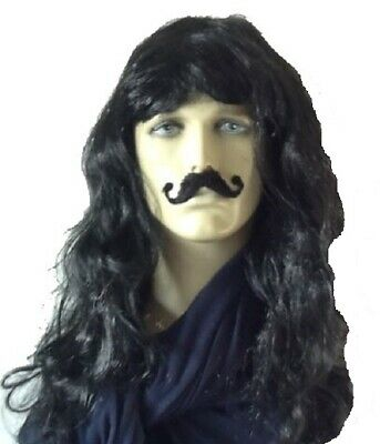 Fairy Tale Pirate's Long Curly Black Fancy Dress Wig and Moustache Set