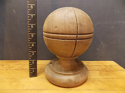 Antique wood ball finial newell post top barber shop pole