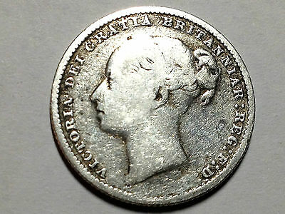 Great Britain 1881 One Shilling Sterling Silver Collector Coin