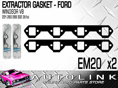 EXTRACTOR GASKETS TO SUIT FORD V8 WINDSOR 221ci 260ci 289ci 302ci 351ci (x2)