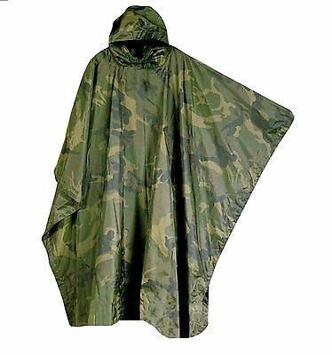 CAMO HOODED PONCHO waterproof hiking army smock jacket camping fishing festivals