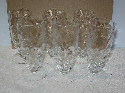 """MORGANTOWN GLASS CO.  """"PALM OPTIC""""  WHISKEY SOUR FOOTED GLASSES (6)"""
