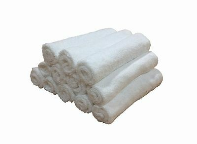 Pack Of 60 Plain White Large Face Towels - Hotel Product - 100% Cotton - 400Gsm