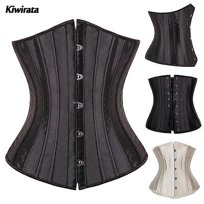 Black Full Spiral Steel Boned Tight Lacing underbust Corset Waist Training #K