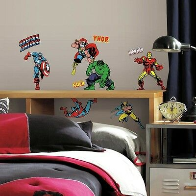 New CLASSIC MARVEL SUPERHEROES WALL DECALS Avengers Stickers Boys BedRoom Decor