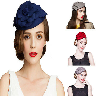 Floral Womens Dress Fascinator Wool Felt Pillbox Hat Cocktail Party Wedding A083