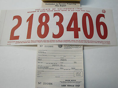 California Temporary Paper License Plate and Matching Registration Cards 1957