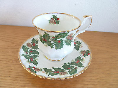 Yuletide Rosina-Queens  Holly Berries Pine Cones England 1 Footed Cup/Saucer Set