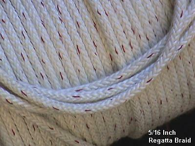 "5/16""  Regatta Braid Rope White, per 10-ft"