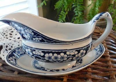 Booths England Silcon China HAWTHORNE Blue+White Blossoms~ Gravy Boat&Underplate