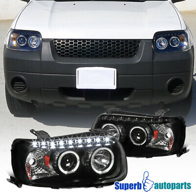 2005 2007 Ford Escape Dual Halo Projector Smd Led Drl Headlights Lamps Black