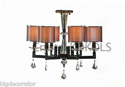 chandelier crystal lighting 6 shades modern oil rubbed bronze ceiling mount 16-6