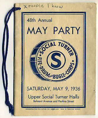 Vintage 1936 Booklet 48th Annual May Party Social Turner Fife Drum & Bugle Corps