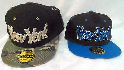 New York  3D Snapback Hat Embroidered Two Tone Flat Bill Cap Hip Hop
