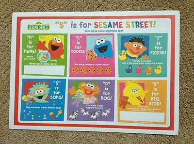 Sesame Street Elmo Zoe Lot Of 25 Paper Placemats Daycare Birthday Party Favors